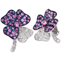 18 Karat White Gold Pink Sapphires Earrings Aenea Jewellery