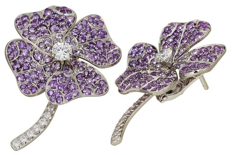 AENEA 18k White Gold Pink Sapphires White Diamonds Flower Ring For Sale 5