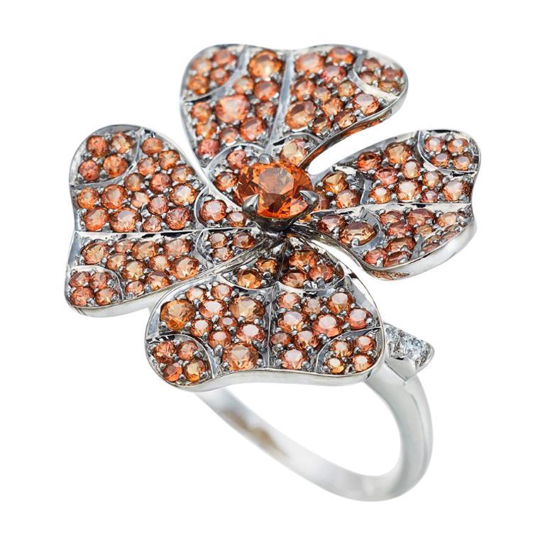 AENEA 18k White Gold Pink Sapphires White Diamonds Flower Ring For Sale 6