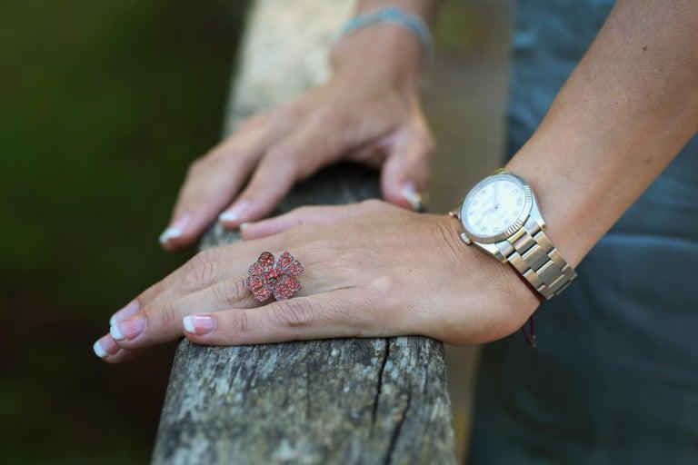 AENEA 18k White Gold Pink Sapphires White Diamonds Flower Ring For Sale 7