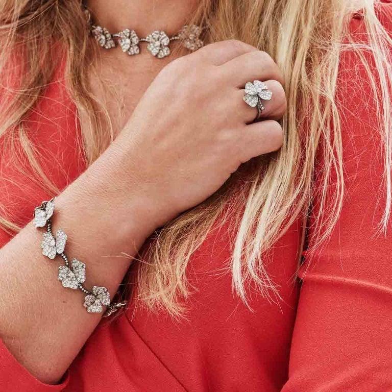 AENEA 18k White Gold Pink Sapphires White Diamonds Flower Ring For Sale 8
