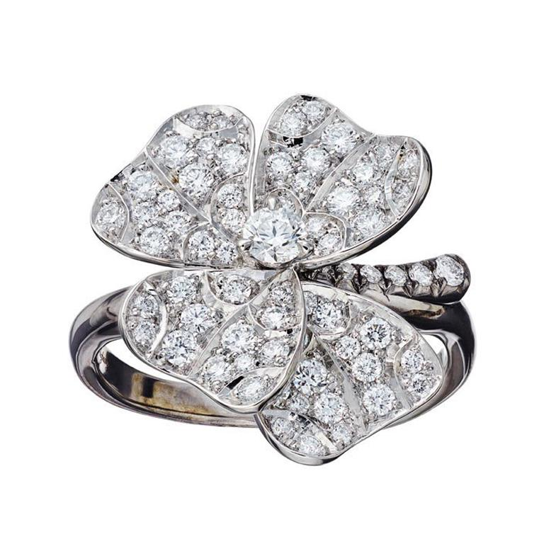 AENEA 18k White Gold Pink Sapphires White Diamonds Flower Ring For Sale 1