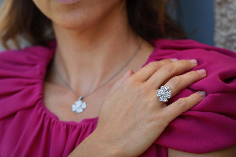 AENEA 18k White Gold Pink Sapphires White Diamonds Flower Ring For Sale 2