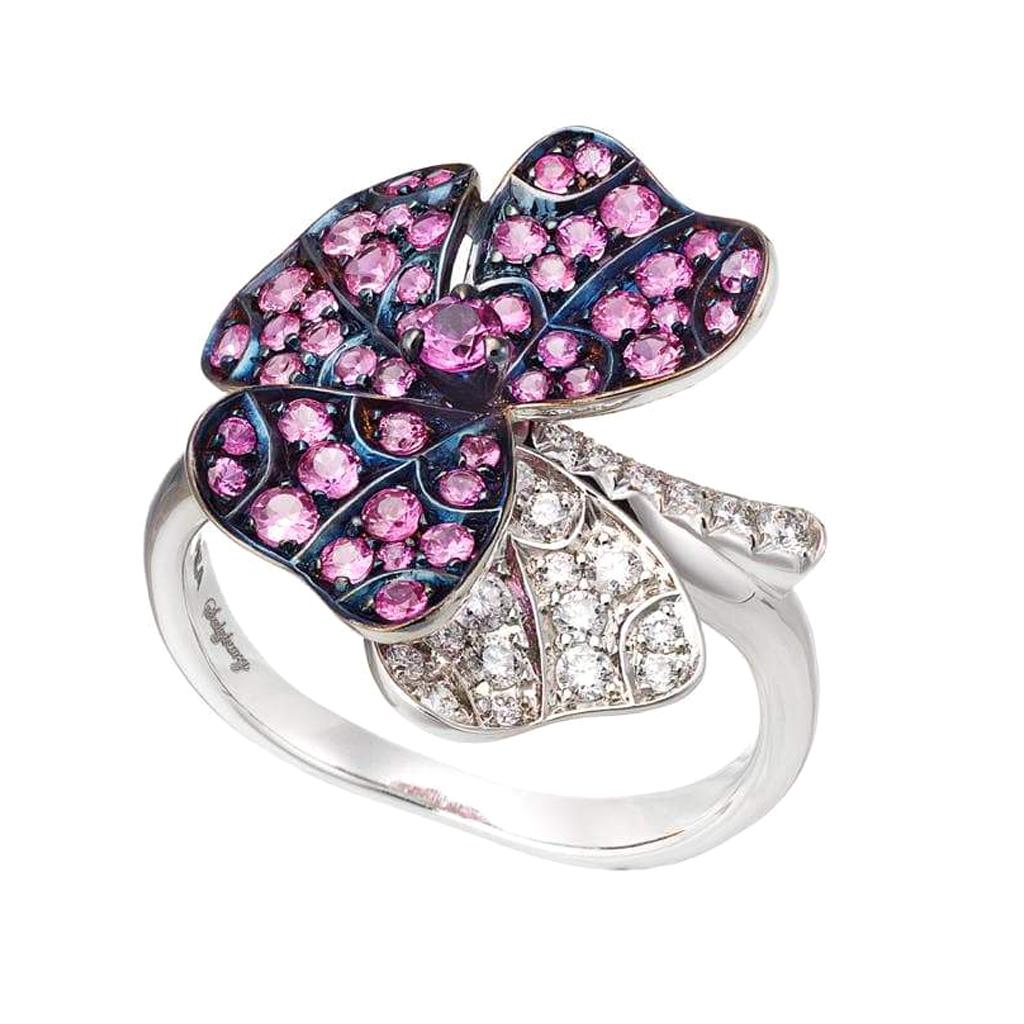 AENEA 18k White Gold Pink Sapphires White Diamonds Flower Ring
