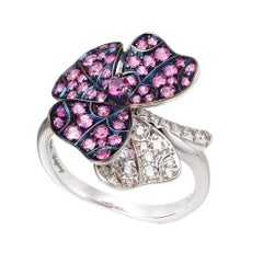 AENEA 18k White Gold Pink Sapphires White Diamonds Flower Ring