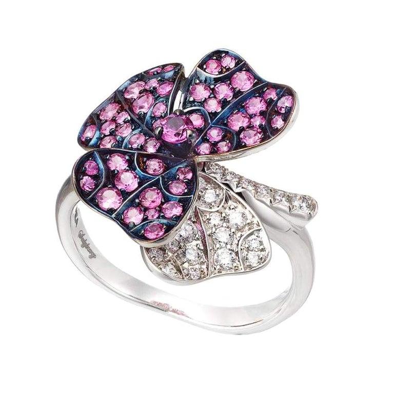 AENEA 18k White Gold Pink Sapphires White Diamonds Flower Ring For Sale