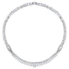 18-Karat White Gold, Platinum and Diamond Necklace, circa 1950s