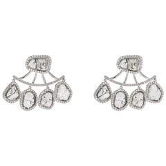 18 Karat White Gold Polki and Pave Diamond Stud Earring