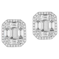 18 Karat White Gold Polygon-Shaped Diamond Earrings