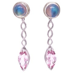 18 Karat White Gold Rainbow Moonstone Studs with Marquise Morganite Jackets