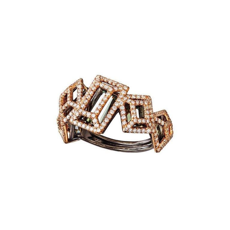 Women's 18 Karat Gold Rhodium Silver White and Black Diamonds Black Spinel Ring Aenea For Sale