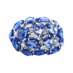 18k White Gold Ring with 20.00 Cts Blue Rose Cut Sapphire & 1.25 Cts of Diamonds