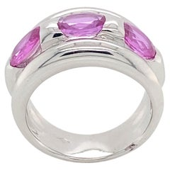 18K White Gold Ring with 3 Pink Sapphires