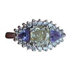 18k White Gold Ring with Natural Fancy Yellow Diamond & Sapphire 1.03 Carat GIA