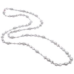 18 Karat White Gold Round and Baguette Diamond Fancy Link Necklace