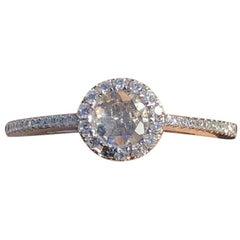 18 Karat White Gold and Round Brilliant Cut Diamond Ring 0.37 Carat
