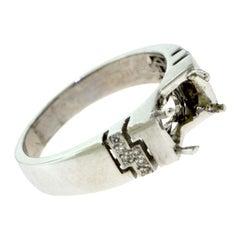 18 Karat White Gold Round Diamond Side Accent Diamond Ring Setting
