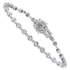 18k White Gold Round Diamond Tennis Bracelet