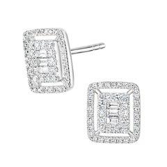 18k White Gold Round Single Cut Pave Diamond Frame Stud Earring