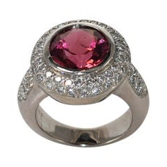 18K White Gold Rubellite Diamond Ring, 3.75 Ct, 14.6 Gr