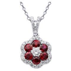 18K White Gold Ruby and Diamond Flower Pendant