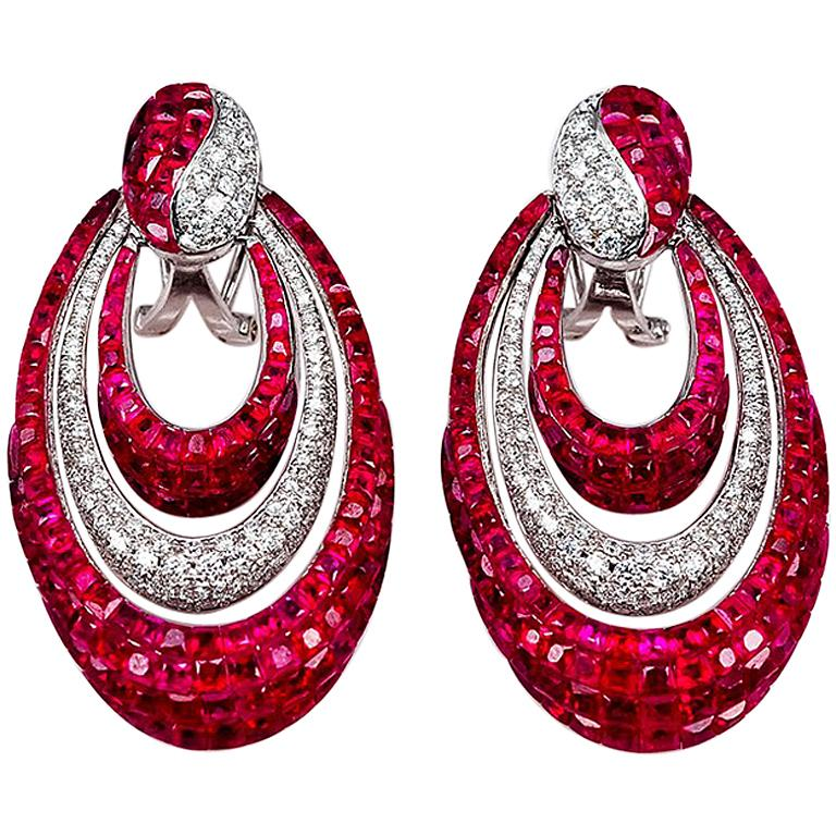18k White Gold Ruby And Diamond Hoop Invisible Stud Earrings