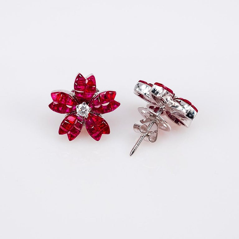 Modern 18K White gold Ruby and diamond invisible Stud Earrings For Sale