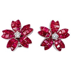 18K White gold Ruby and diamond invisible Stud Earrings