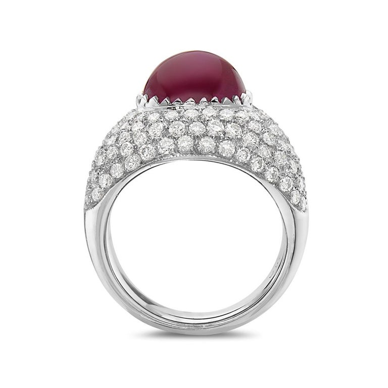 This cocktail ring features 4.97 carats ruby and 1.9 carats diamond. Made in Italy. Size 6.5   Can be resized upon request.  Viewings available in our NYC showroom by appointment.