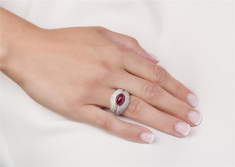 Round Cut 18 Karat White Gold Ruby and Diamond Pave Cocktail Ring For Sale
