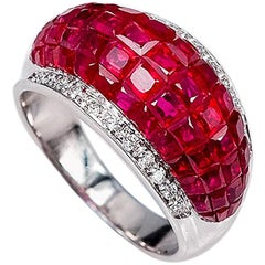 18K White gold Ruby dome invisible Ring