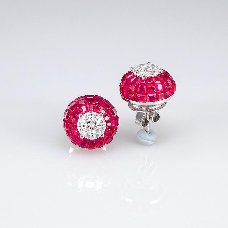 Modern 18K White gold Ruby dome invisible Stud Earrings For Sale
