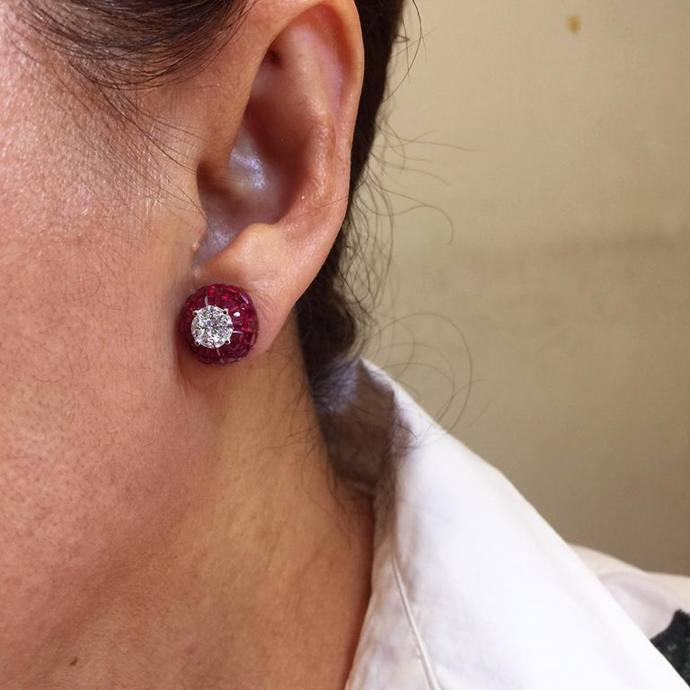 Women's 18K White gold Ruby dome invisible Stud Earrings For Sale