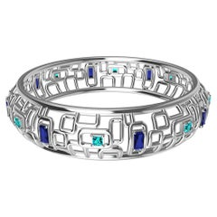 "18 Karat White Gold Sapphire and Aquamarine Bracelet ""Water and Light"""