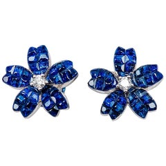 18k white gold Sapphire and diamond invisible Stud Earrings