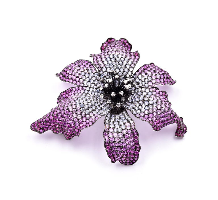 Round Cut 18 Karat White Gold Sapphire and Diamond Lily Broach Pendant For Sale