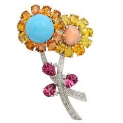 18K White Gold Sapphire Diamond Citrine Flower Brooch