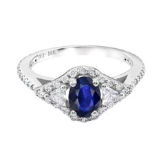 18k White Gold Sapphire Diamond Cocktail Cluster Ring Weighing 1.95 Carat