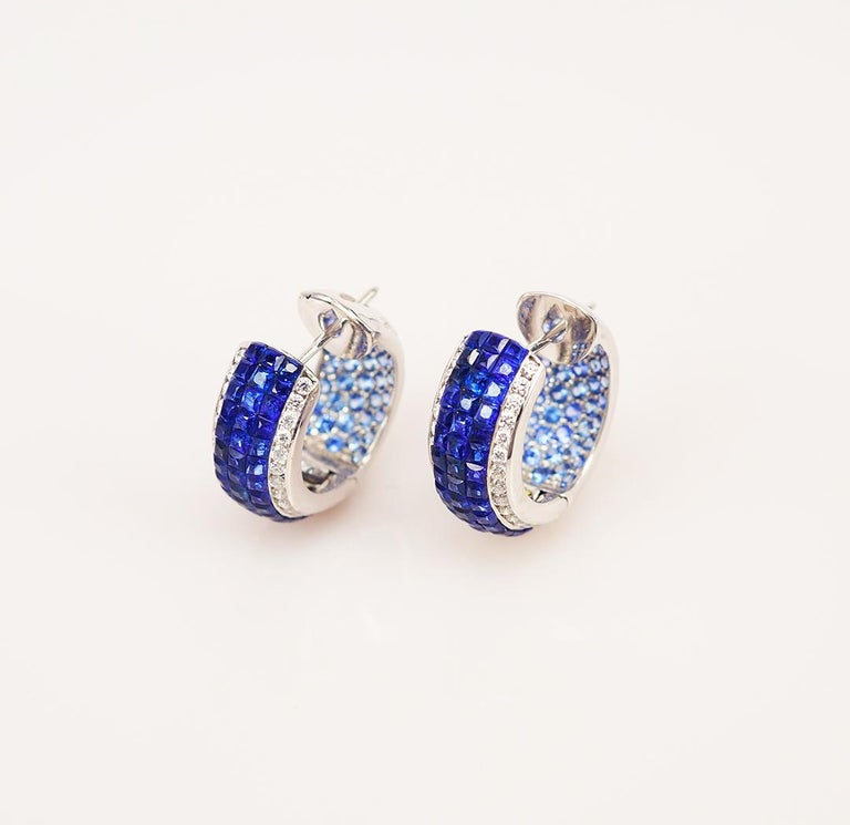 Modern 18 Karat White Gold Sapphire Hoop Earrings For Sale