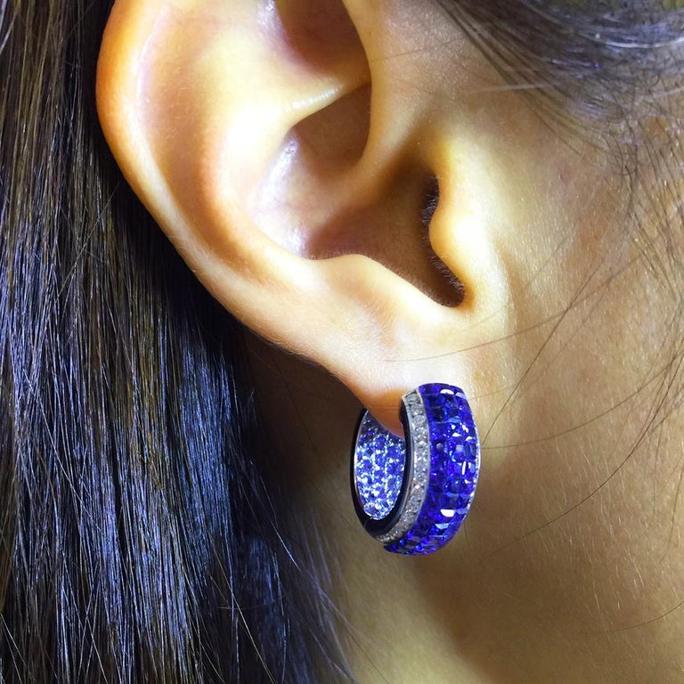 18 Karat White Gold Sapphire Hoop Earrings For Sale 3