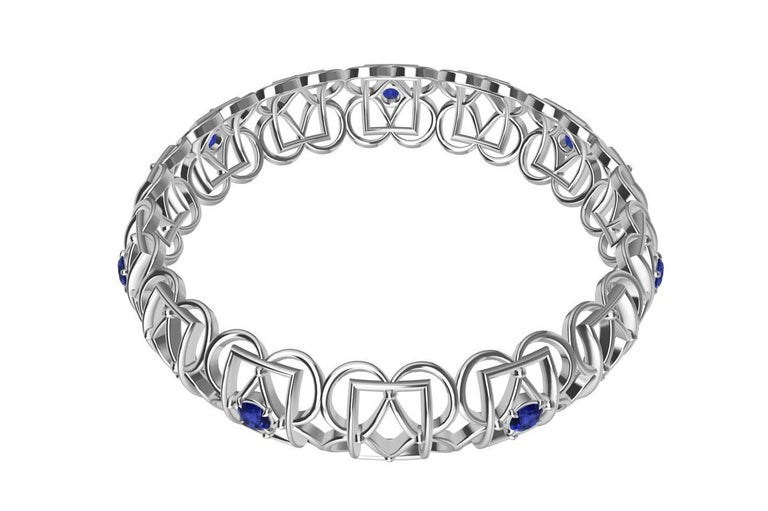 18 Karat White Gold Sapphire Rectangle Rhombus Bangle In New Condition For Sale In New York, NY