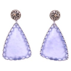 18 Karat White Gold Scroll Pattern Studs with Blue Chalcedony Earring Jackets