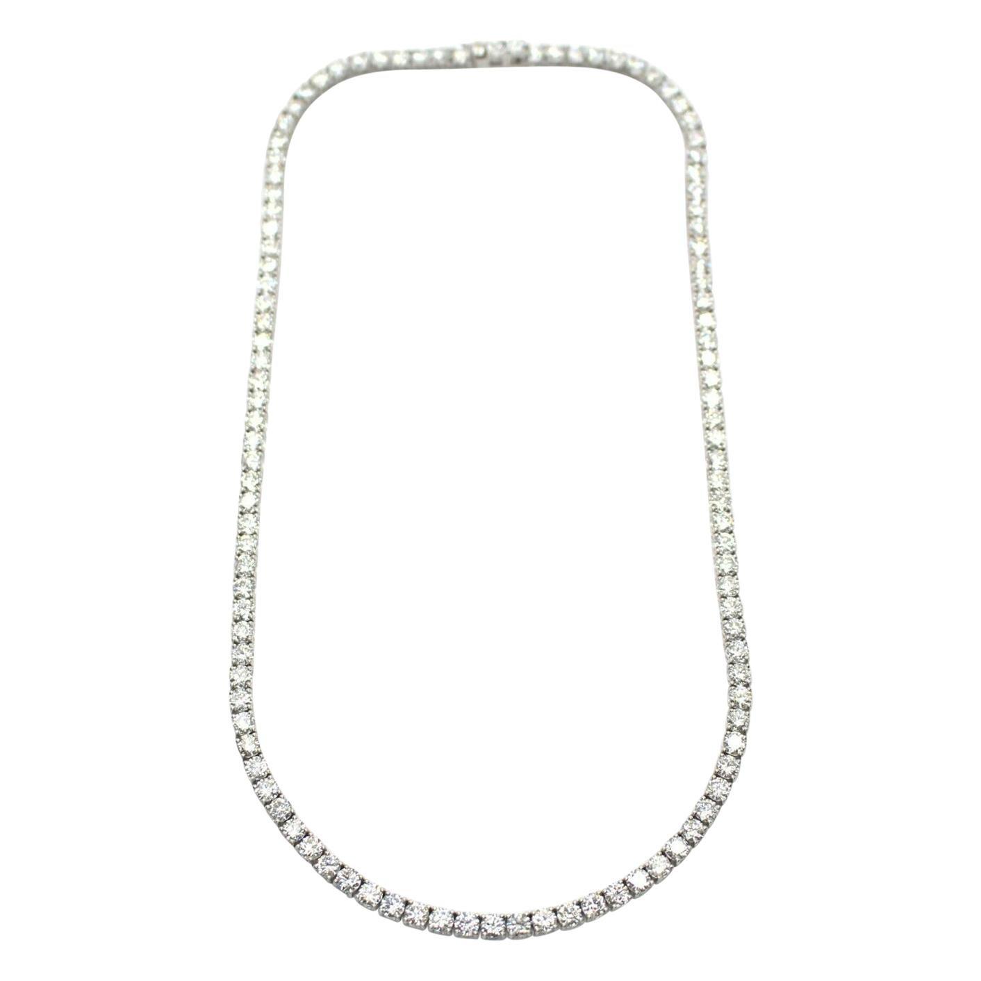 18k White Gold Straight Diamond Tennis Bracelet 20.51cts