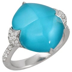 18K White Gold Sugarloaf Cabochon Ring with White Topaz, Turquoise and Diamonds