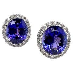 18k White Gold Tanzanite and Diamond Earrings Classic Design