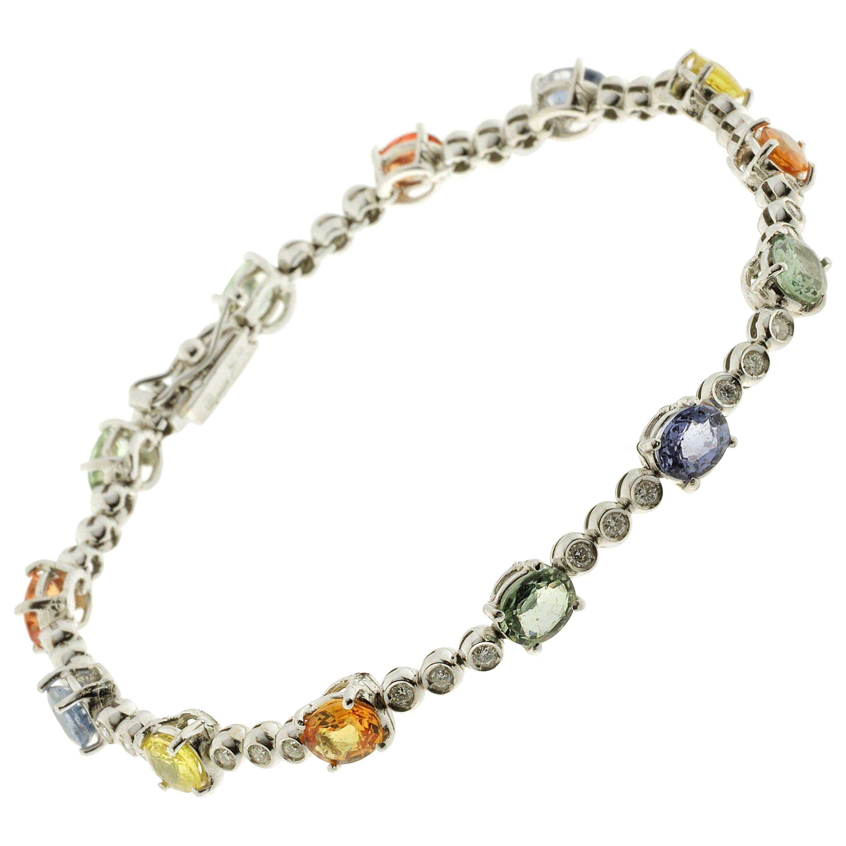 18 Karat White Gold Tennis Bracelet with Diamonds and Sapphires