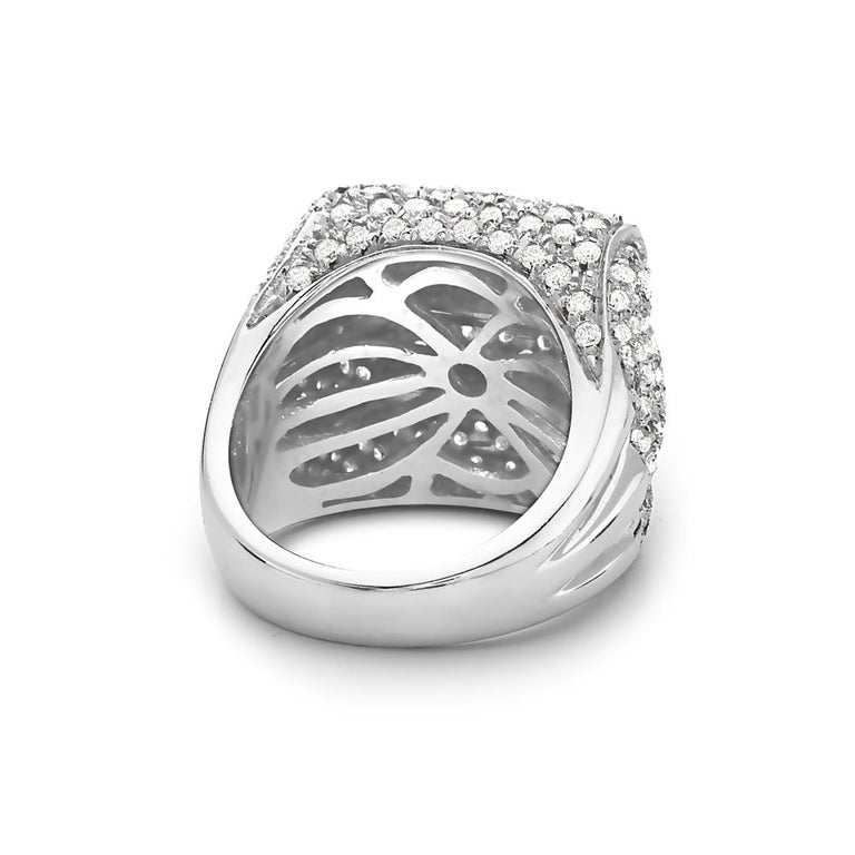 Modern 18 Karat White Gold Three-Row Pave Diamond Cocktail Ring For Sale