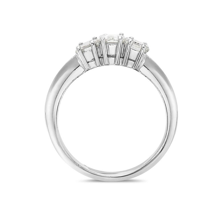 This engagement ring features 2.18 carats of G VS emerald cut diamonds set in 18K white gold. 8.5 grams total weight. Made in Italy. Size 7 1/4.   Can be resized upon request.   Viewings available in our NYC showroom by appointment.