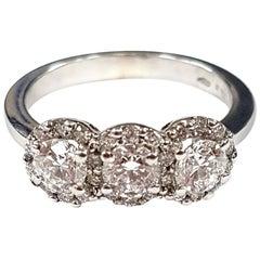 18 Karat White Gold Triple-Cluster Diamond Ring