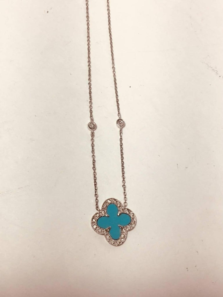 0b3a464e4c9cd 18K White Gold Turquoise Clover Necklace